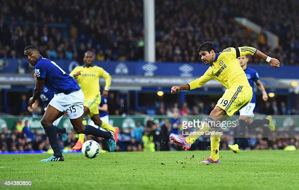 Diego Costa of Chelsea scores his team's sixth goal during the Barclays Premier League match between Everton and Chelsea at Goodison Park on August...