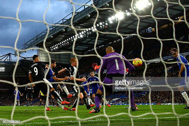 Diego Costa of Chelsea scores the opening goal during the Barclays Premier League match between Chelsea and Watford at Stamford Bridge on December 26...