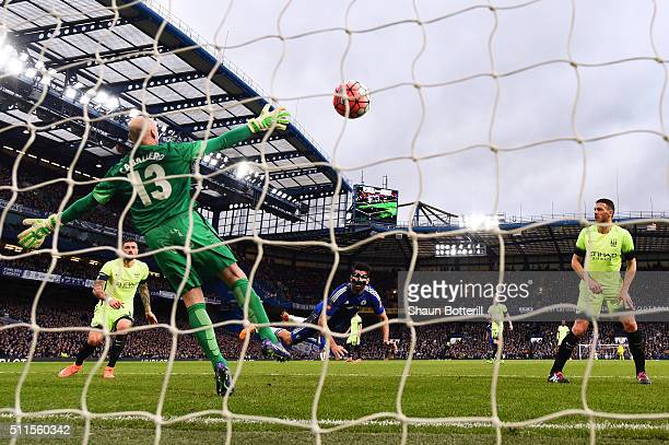 Diego Costa of Chelsea scores the opening goal during The Emirates FA Cup fifth round match between Chelsea and Manchester City at Stamford Bridge on...
