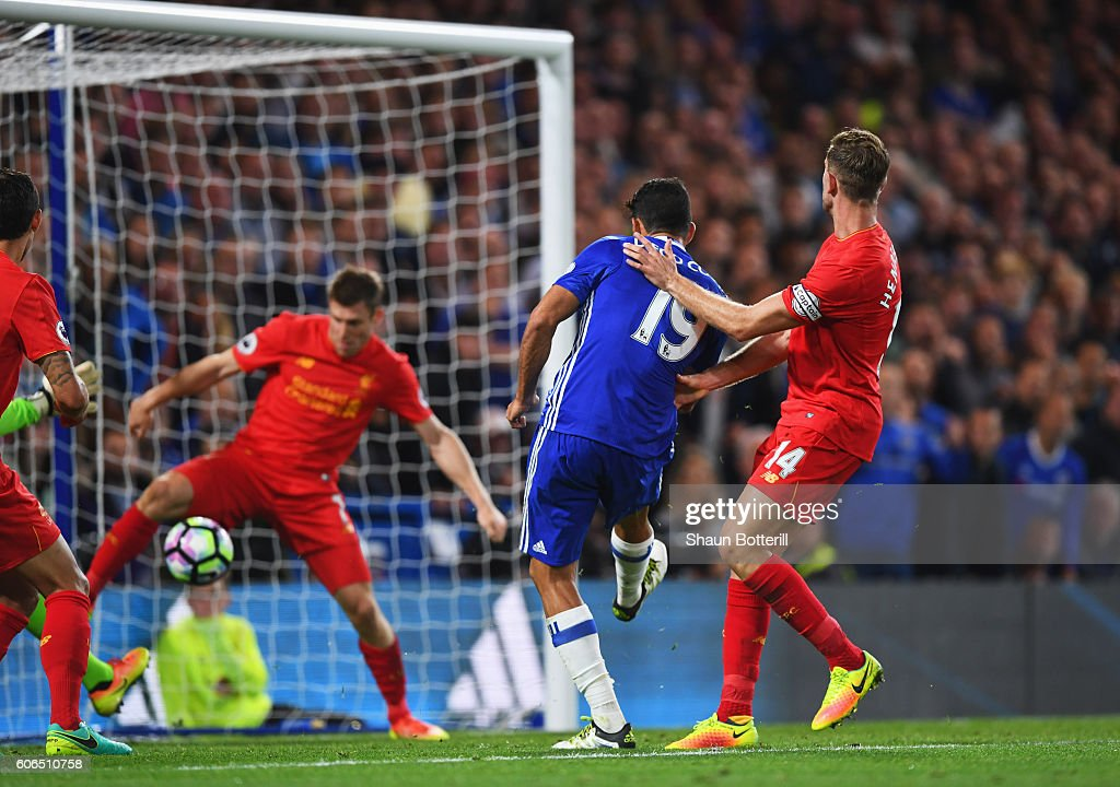 Diego Costa of Chelsea (19) scores their first goal during the Premier League match between Chelsea and Liverpool at Stamford Bridge on September 16, 2016 in London, England.