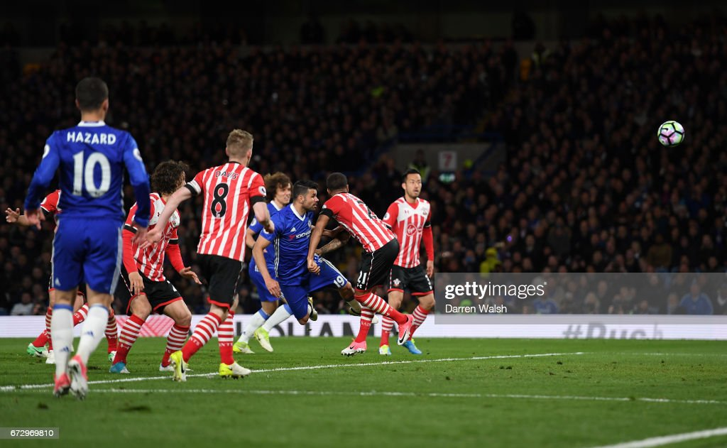 Diego Costa of Chelsea (19) scores their third goal during the Premier League match between Chelsea and Southampton at Stamford Bridge on April 25, 2017 in London, England.