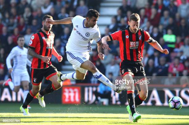 Diego Costa of Chelsea shoots during the Premier League match between AFC Bournemouth and Chelsea at Vitality Stadium on April 8 2017 in Bournemouth...