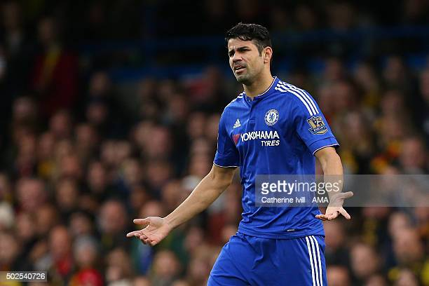 Diego Costa of Chelsea shrugs his shoulders during the Barclays Premier League match between Chelsea and Watford at Stamford Bridge on December 26...