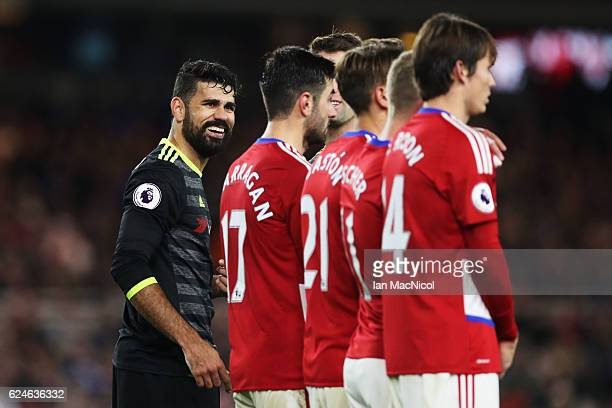 Diego Costa of Chelsea smiles during the Premier League match between Middlesbrough and Chelsea at Riverside Stadium on November 20 2016 in...