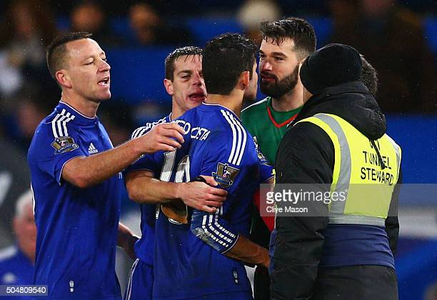 Diego Costa of Chelsea squares off with Boaz Myhill of West Bromwich Albion after the final whistle of the Barclays Premier League match between...