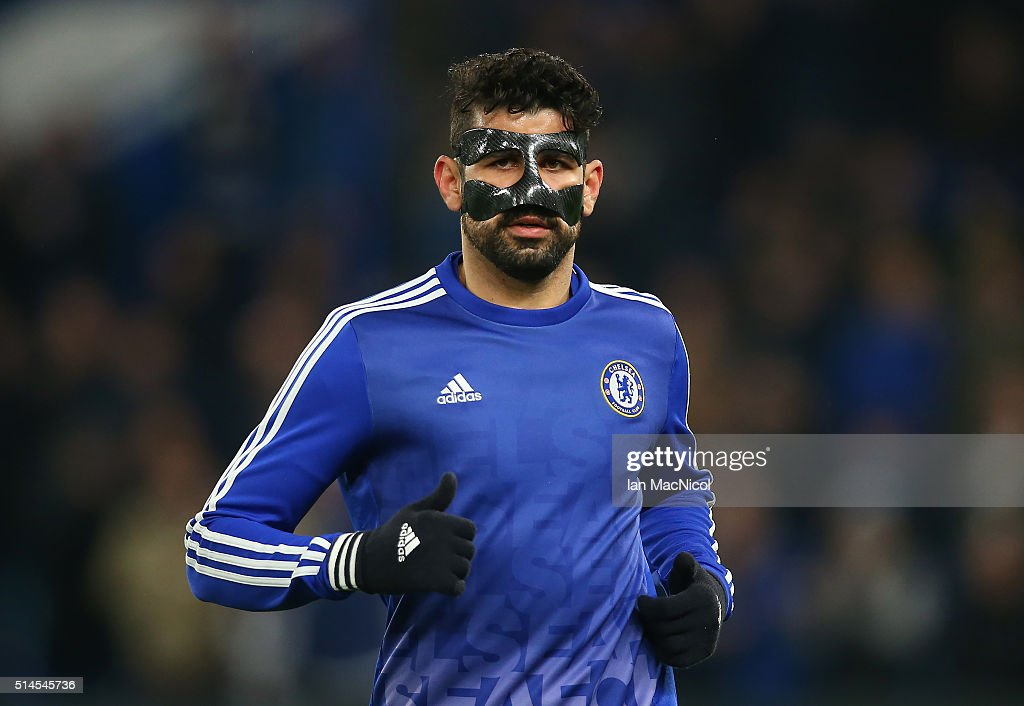 Diego Costa of Chelsea warms up during the UEFA Champions League Round of 16 Second Leg match between Chelsea and Paris Saint-Germain at Stamford Bridge on March 09, 2016 in London, England.