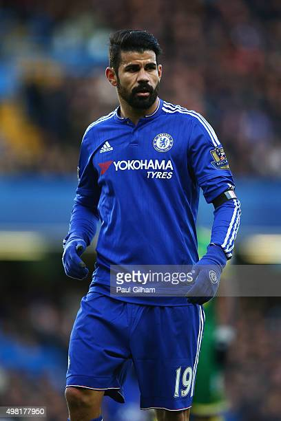 Diego Costa of Chelsea wears a black armband during the Barclays Premier League match between Chelsea and Norwich City at Stamford Bridge on November...