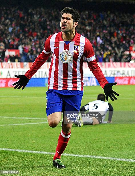 Diego Costa of Club Atletico de Madrid celebrates after scoring Atletico's opening goal during the La Liga match between Club Atletico de Madrid and...