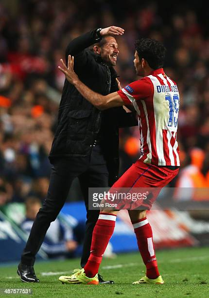 Diego Costa of Club Atletico de Madrid celebrates his goal with Diego Simeone coach of Club Atletico de Madrid during the UEFA Champions League...