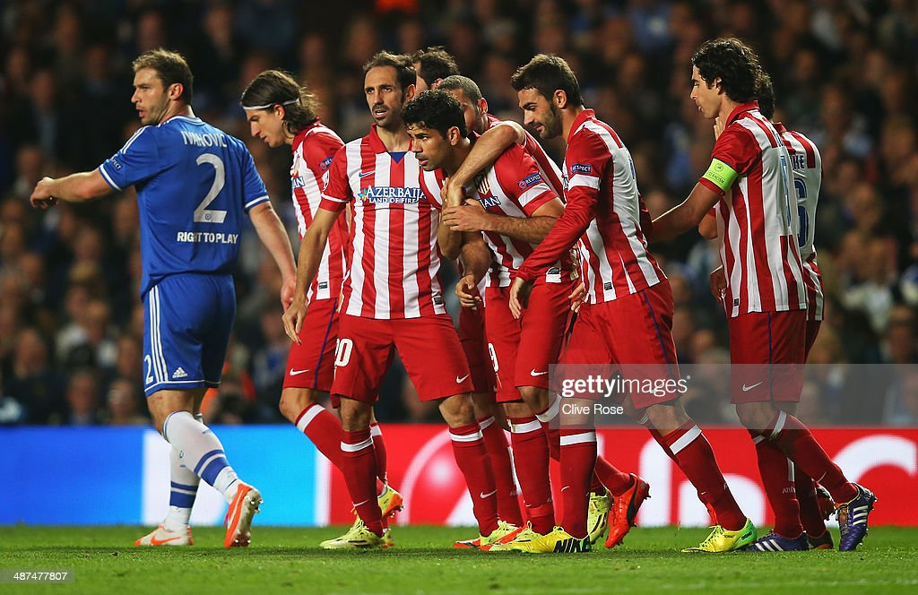 Diego Costa of Club Atletico de Madrid celebrates his goal with team mates during the UEFA Champions League semi-final second leg match between Chelsea and Club Atletico de Madrid at Stamford Bridge on April 30, 2014 in London, England.