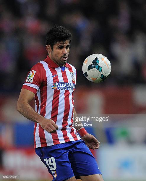 Diego Costa of Club Atletico de Madrid controls the ball during the La Liga match between Club Atletico de Madrid and Granada CF at Vicente Calderon...