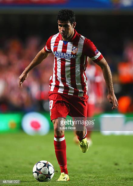 Diego Costa of Club Atletico de Madrid in action during the UEFA Champions League semifinal second leg match between Chelsea and Club Atletico de...