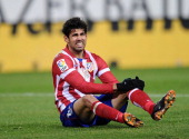 Diego Costa of Club Atletico de Madrid looks on after being awarded a penalty kick during the La Liga match between Club Atletico de Madrid and...