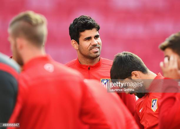 Diego Costa of Club Atletico de Madrid looks on during a Club Atletico de Madrid training session ahead of the UEFA Champions League Final against...