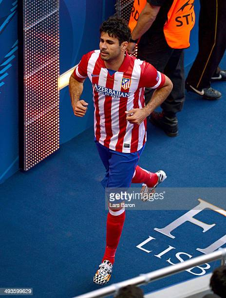 Diego Costa of Club Atletico de Madrid makes his way down the tunnel after going off injured during the UEFA Champions League Final between Real...