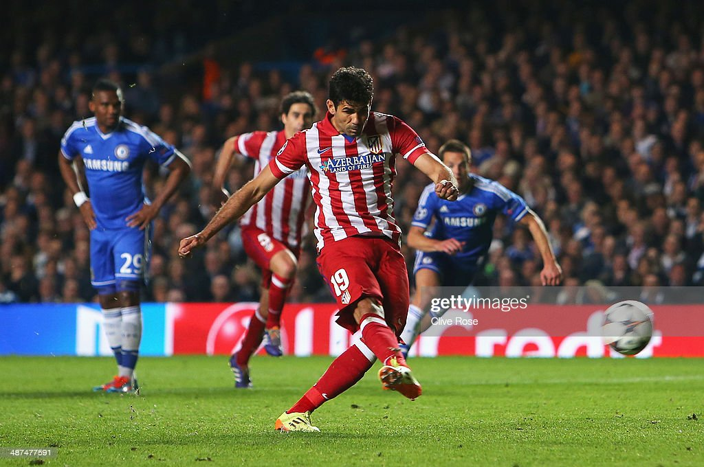 Diego Costa of Club Atletico de Madrid scores from the penalty spot during the UEFA Champions League semi-final second leg match between Chelsea and Club Atletico de Madrid at Stamford Bridge on April 30, 2014 in London, England.