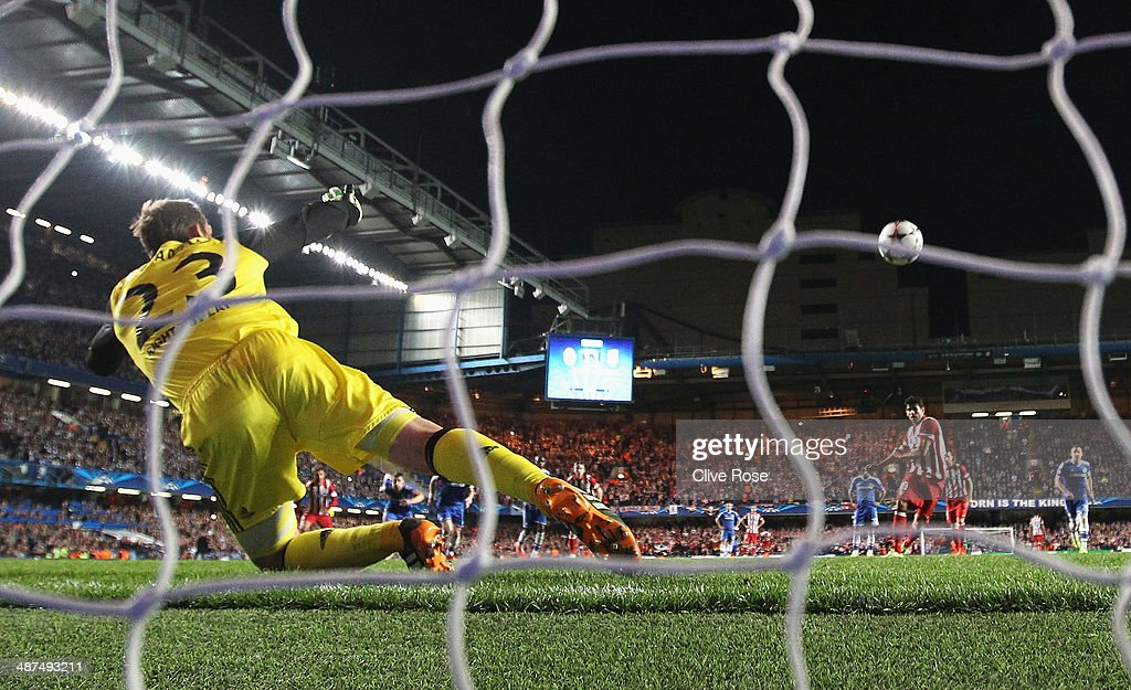 Diego Costa of Club Atletico de Madrid scores from the penalty spot past goalkeeper Mark Schwarzer of Chelsea during the UEFA Champions League semi-final second leg match between Chelsea and Club Atletico de Madrid at Stamford Bridge on April 30, 2014 in London, England.