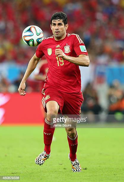 Diego Costa of Spain controls the ball during the 2014 FIFA World Cup Brazil Group B match between Spain and Chile at Maracana on June 18 2014 in Rio...