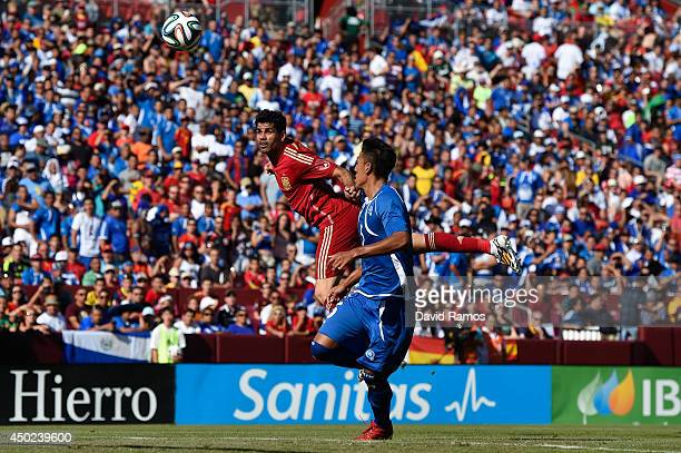 Diego Costa of Spain heads the ball towards goal during an international friendly match between El Salvador and Spain at FedExField on June 7 2014 in...