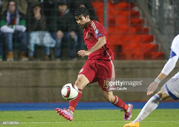 Diego Costa of Spain in action during the Euro 2016 qualifier match between Luxembourg and Spain at Stade Josy Barthel stadium on October 12 2014 in...