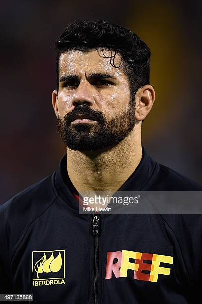 Diego Costa of Spain lines up for the National Anthems ahead of an International Friendly between Spain and England at the Estadio José Rico Pérez on...