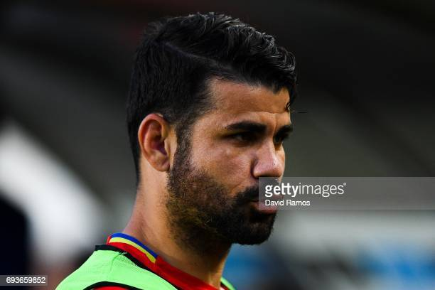 Diego Costa of Spain looks on during a friendly match between Spain and Colombia at La Nueva Condomina stadium on June 7 2017 in Murcia Spain