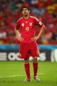 Diego Costa of Spain looks on during the 2014 FIFA World Cup Brazil Group B match between Spain and Chile at Maracana on June 18 2014 in Rio de...