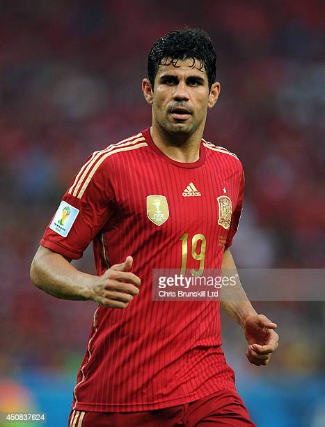 Diego Costa of Spain looks on during the 2014 FIFA World Cup Brazil Group B match between Spain and Chile at Maracana Stadium on June 18 2014 in Rio...