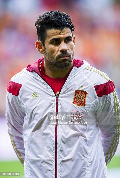 Diego Costa of Spain looks on prior to the start the Spain v Slovakia EURO 2016 Qualifier at Carlos Tartiere on September 5 2015 in Oviedo Spain