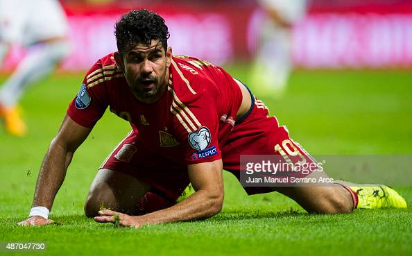 Diego Costa of Spain reacts during the Spain v Slovakia EURO 2016 Qualifier at Carlos Tartiere on September 5 2015 in Oviedo Spain