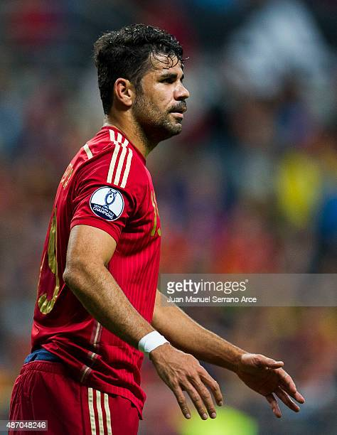 Diego Costa of Spain reacts during the Spain v Slovakia EURO 2016 Qualifier at Carlos Tartiere on Sep 5 2015 in Oviedo Spain