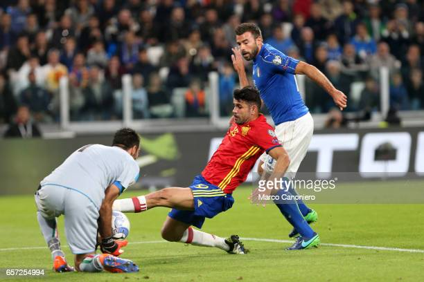 Diego Costa of Spain stopped by Gianluigi Buffon of Italy during the WC 2018 football qualification match between Italy and Spain The game ended 11