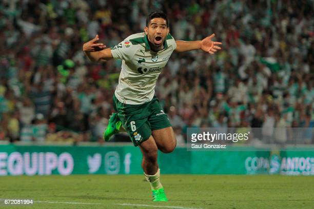 Diego de Buen of Santos celebrates after scoring the second goal of his team during the 15th round match between Santos Laguna and America as part of...