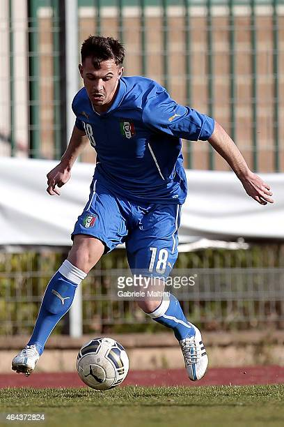 Diego De Girolamo of Italy U20 in action during the international friendly match between Italy U20 and Qatar U20 on February 25 2015 in Montelupo...