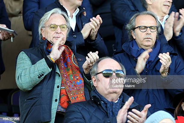 Diego Della Valle and Andrea Della Valle during the French anthem during the Serie A match between ACF Fiorentina and Empoli FC at Stadio Artemio...