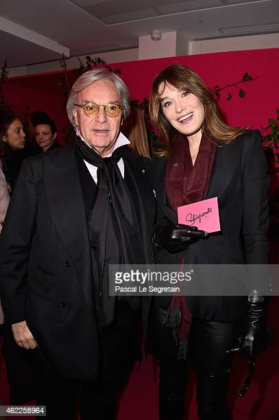 Diego Della Valle and Carla BruniSarkozy attend the Schiaparelli show as part of Paris Fashion Week Haute Couture Spring/Summer 2015 on January 26...