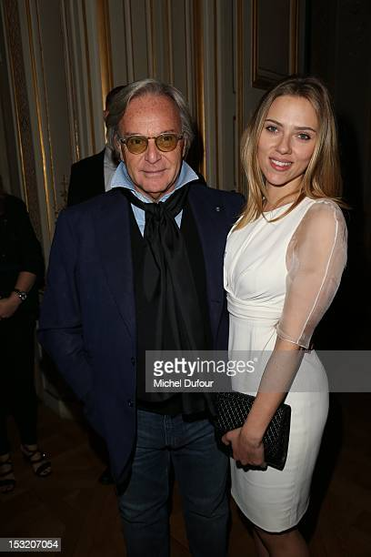 Diego Della Valle and Scarlett Johansson attend the Tod's Signature at Ambassade d'Italie as part of Paris Fashion Week on October 1 2012 in Paris...