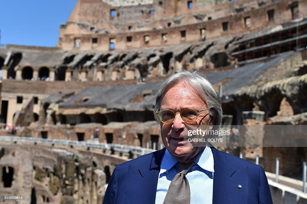 Diego della Valle, CEO of luxury shoe brand Tod's, attends a press conference on July 1, 2016 to announce the end of the restoration of the façade of the Colosseum that his company funded. / AFP / GABRIEL
