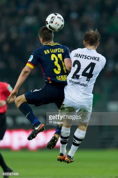 Diego Demme of Leipzig and Tony Jantschke of Moenchengladbach battle for the ball during the Bundesliga match between Borussia Moenchengladbach and...