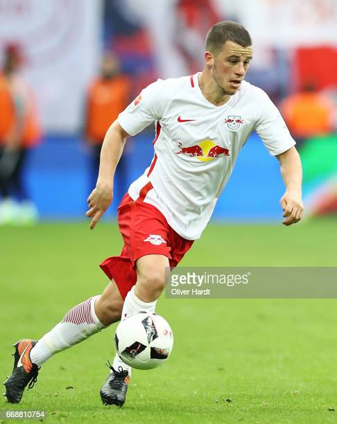 Diego Demme of Leipzig in action during the Bundesliga match between RB Leipzig and SC Freiburg at Red Bull Arena on April 15 2017 in Leipzig Germany