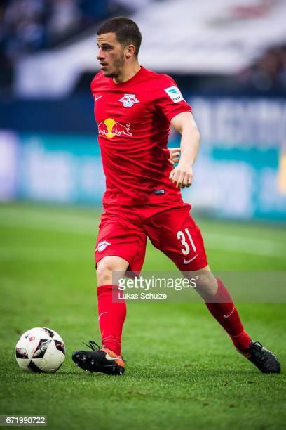 Diego Demme of Leipzig in action during the Bundesliga match between FC Schalke 04 and RB Leipzig at VeltinsArena on April 23 2017 in Gelsenkirchen...