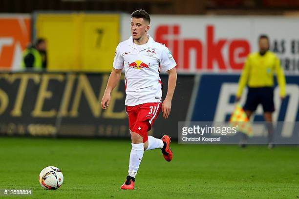 Diego Demme of Leipzig runs with the ball during the 2 Bundesliga match between SC Paderborn and RB Leipzig at Benteler Arena on February 26 2016 in...