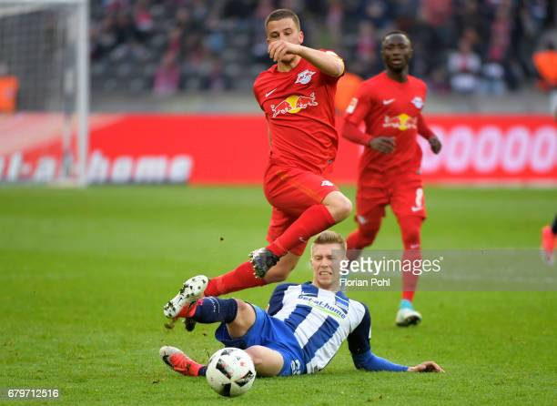 Diego Demme of RB Leipzig and Mitchell Weiser of Hertha BSC during the game between Hertha BSC and RB Leipzig on may 6 2017 in Berlin Germany