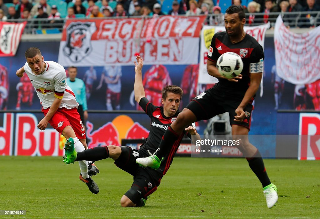 Diego Demme of RB Leipzig tries to score during the Bundesliga match between RB Leipzig and FC Ingolstadt 04 at Red Bull Arena on April 29, 2017 in Leipzig, Germany.