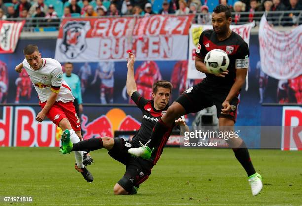 Diego Demme of RB Leipzig tries to score during the Bundesliga match between RB Leipzig and FC Ingolstadt 04 at Red Bull Arena on April 29 2017 in...