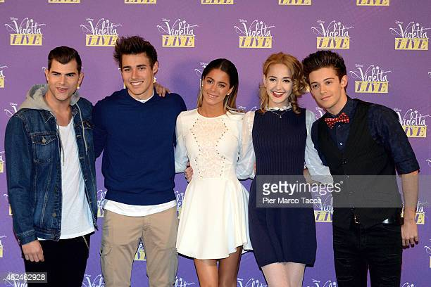Diego Dominguez Jorge Blanco Martina Stoessel Mercedes Lambre and Ruggero Pasquareli attend the 'Violetta Live 2015' photocall on January 29 2015 in...