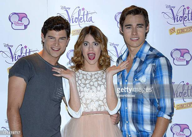 Diego Dominguez Martina Stoessel and Jorge Blanco attend a photocall for 'Violetta' at Emperador Hotel on June 24 2013 in Madrid Spain