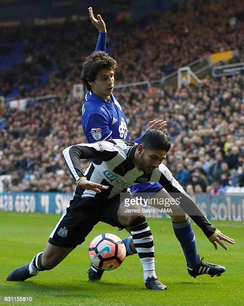 Diego Fabbrini of Birmingham City and Achraf Lazaar of Newcastle United during the Emirates FA Cup Third Round match between Birmingham City and...