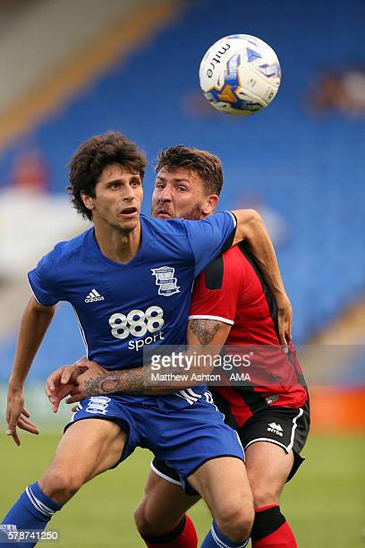 Diego Fabbrini of Birmingham City and Gary Deegan of Shrewsbury Town during the PreSeason Friendly between Shrewsbury Town and Birmingham City at the...