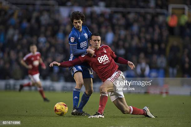 Diego Fabbrini of Birmingham City and Jack Hobbs of Nottingham Forest in action during the Sky Bet Championship match between Birmingham City and...